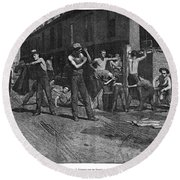 Iron Workers, 1884 Round Beach Towel