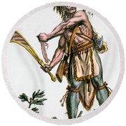 Iroquois Warrior Round Beach Towel