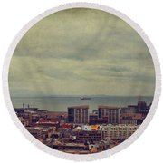 Is Anybody Out There Round Beach Towel by Laurie Search