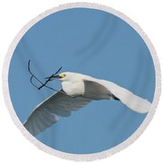 Is It Nesting Time  Round Beach Towel
