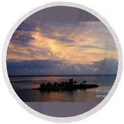 Island At Sunset Round Beach Towel