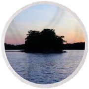 Island Evening Round Beach Towel