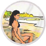 Island Girl Round Beach Towel