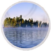 Island In Lake With Morning Fog Round Beach Towel