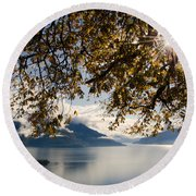 Islands On A Lake In Autumn Round Beach Towel
