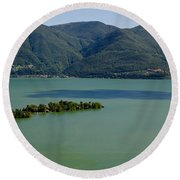 Islands On An Alpine Lake With A Shadow Round Beach Towel