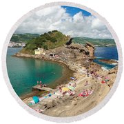 Islet In The Azores Round Beach Towel