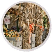 Isoms Orchard In Fall Regalia Round Beach Towel
