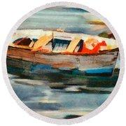 Istrian Fishing Boat Round Beach Towel