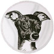 Italian Greyhound Round Beach Towel