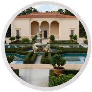 Italian Renaissance Garden Round Beach Towel