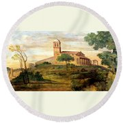 Italian Valley  Round Beach Towel