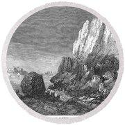 Italy: Earthquake, 1856 Round Beach Towel
