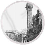 Italy: Siena, 19th Century Round Beach Towel