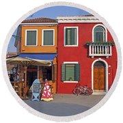 Italy Venice  Round Beach Towel