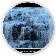 Ithaca Falls New York Closeup Round Beach Towel
