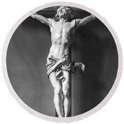 Ivory Crucifix Round Beach Towel