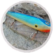 J And J Flop Tail Vintage Saltwater Fishing Lure - Blue Round Beach Towel