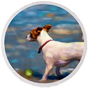 Jack At The Beach Round Beach Towel by Michelle Wrighton