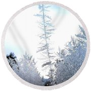 Jack Frost's Ice Forest Round Beach Towel