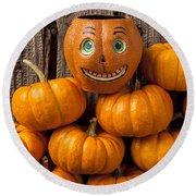 Jack-o-lantern On Stack Of Pumpkins Round Beach Towel