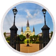 Jackson Square In New Orleans Round Beach Towel