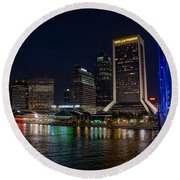 Jacksonville Florida Riverfront Round Beach Towel