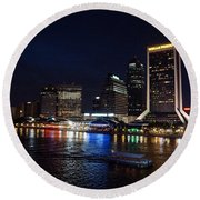 Jacksonville Riverfront Round Beach Towel