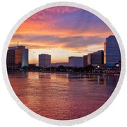 Jacksonville Skyline At Dusk Round Beach Towel by Debra and Dave Vanderlaan
