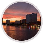 Jacksonville Skyline Night Round Beach Towel