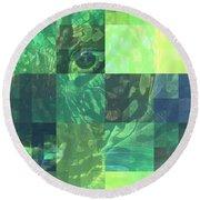 Jaguar Graph Geo Green Round Beach Towel