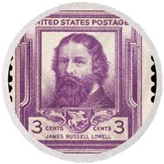 James Russell Lowell Round Beach Towel