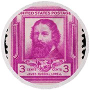 James Russell Lowell Postage Stamp Round Beach Towel