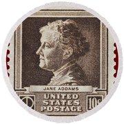 Jane Addams Postage Stamp Round Beach Towel
