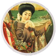 Japan Steamship Poster  1914 Round Beach Towel