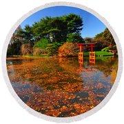 Japanese Garden Brooklyn Botanic Garden Round Beach Towel