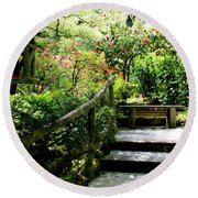 Japanese Garden Retreat Round Beach Towel