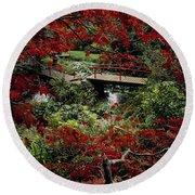 Japanese Garden, Through Acer In Round Beach Towel