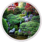 Japanese Garden With Pagoda And Pond Round Beach Towel