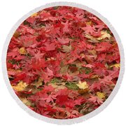 Japanese Red Maple Leaves Round Beach Towel