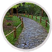 Japanese Tea Garden Path Round Beach Towel