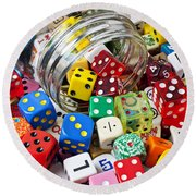 Jar Spilling Dice Round Beach Towel by Garry Gay