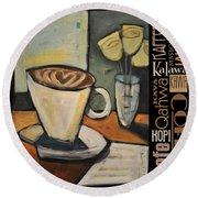 Java Coffee Languages Poster Round Beach Towel