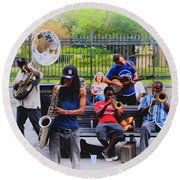 Jazz Band At Jackson Square Round Beach Towel by Bill Cannon