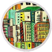 Jazz City Round Beach Towel