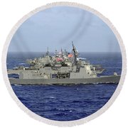 Jds Atago Sails In Formation With U.s Round Beach Towel
