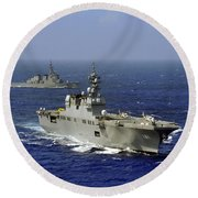 Jds Hyuga Sails In Formation With U.s Round Beach Towel