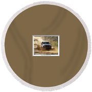 Jeep In The Mud Round Beach Towel