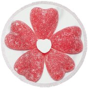 Jelly Candy Heart Flower 1 Round Beach Towel