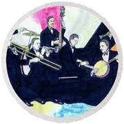 Jelly Roll And The Red Hot Peppers Round Beach Towel